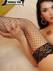 Shemale Pornstar Eva Lin looks absolutely fantastic as a brunette in this solo scene!