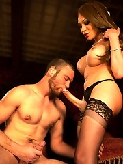 Mia Isabella cries wolf & then becomes one as she ravages the guy who unties her. He cums just from her TEN INCH beastly cock fucking his ass.