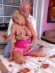 Big titted Kimber blowing and riding a huge cock