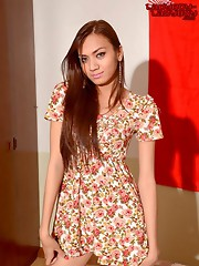 Ladyboy teen strips and strokes