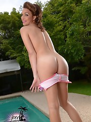Super hot TS Jonelle stripping by the pool