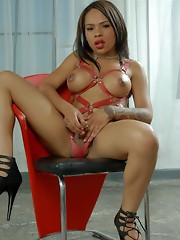 Gorgeous ebony TS Nody posing in heels