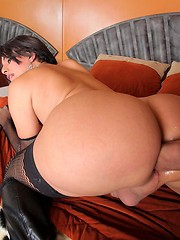 Sexy Colombian transsexual Carolina Estevez takes a huge sausage up her tight tranny ass