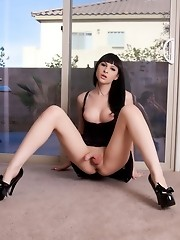 Stunningly cute transsexual Bailey Jay showing her fat cock
