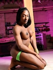 Super hot ebony transsexual Natalia Coxxx posing