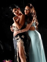 Transsexual sweethearts Vaniity and Mia Isabella posing