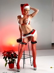 Amazing TS Olivia Love posing in seductive xmas costume