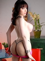 Big titted tgirl Sarina Valentina stripping and posing