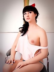 Beautiful transsexual Bailey Jay stripping and posing