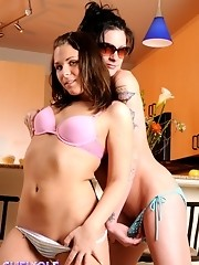 Two super hot shemale babes pleasuring each other