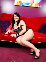 Sweet tgirl Delilah stripping and posing